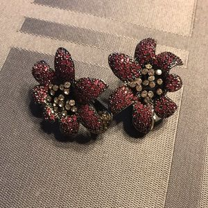 Kenneth Jay Lane Pave' Lilly Clip Earrings